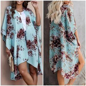 Boho Blue Floral Open Front Kimono Cover Up OS